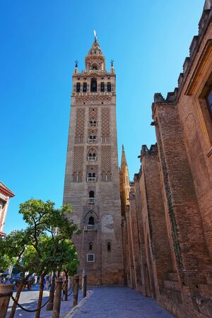 seville: Giralda of Saint Mary of the See Cathedral in Seville, Andalusia, Spain. Stock Photo