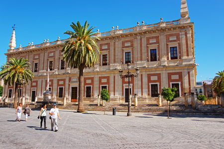 Seville, Spain - August 23, 2011: General Archive of the Indies in Seville, Andalusia, Spain. People on the background