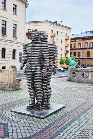 wielkopolska: Poznan, Poland - May 7, 2014: Golem monument and Kronthal fountain on Marcinkowski Avenue in Poznan, Poland