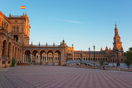 seville: Plaza de Espana, or Spanish Square, Seville, Andalusia, Spain.