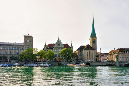 Fraumunster Church at Limmat River quay in the city center of Zurich, Switzerland