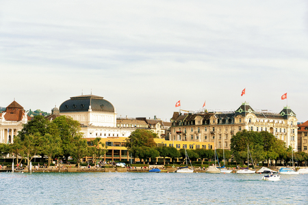 Opera house at Limmat River Quay in Zurich, Switzerland