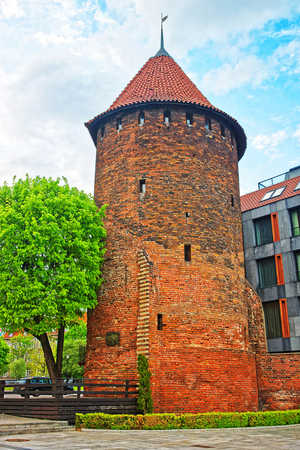 Swan Tower in the old town in Gdansk, Poland