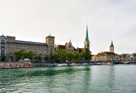 St Peter Church and Fraumunster Church at Limmat River quay in the city center of Zurich, Switzerland.