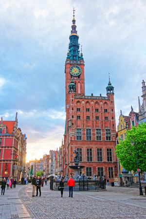 Gdansk, Poland - May 7, 2014: Main City Hall and Dlugi Targ Square in the old city center in Gdansk, Poland. People on the background.