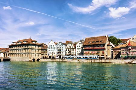 Town Hall at Limmat River quay, Zurich, Switzerland Stock Photo