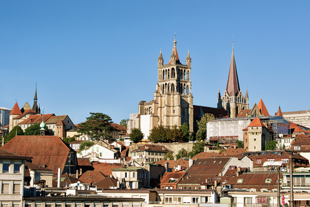 Cathedral of Notre Dame in Lausanne, Switzerland. Seen from Le Flon district Standard-Bild