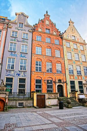Gdansk, Poland - May 7, 2014: Historical buildings at Long Market Square of Gdansk, Poland. Publikacyjne