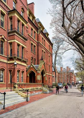 Cambridge, USA - April 29, 2015: People at Harvard Computer Society in Harvard Yard of Harvard University in Cambridge, Massachusetts, MA, USA.