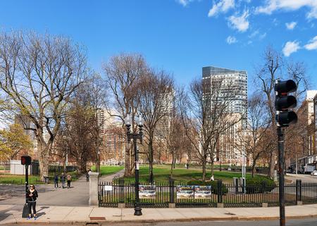 Boston, USA - April 28, 2015: People at Boston Common public park in Boston, MA, United States.