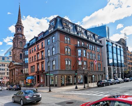 Boston, USA - April 28, 2015: Arlington Street and Church in downtown Boston, MA, USA