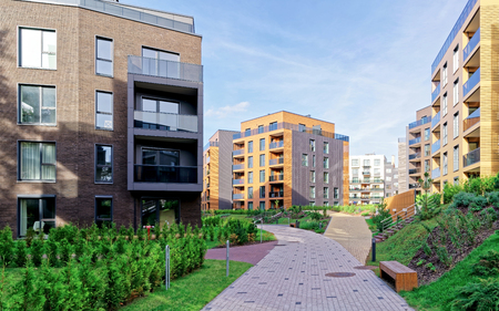 Modern european architecture of residential buildings quarter. And outdoor facilities.