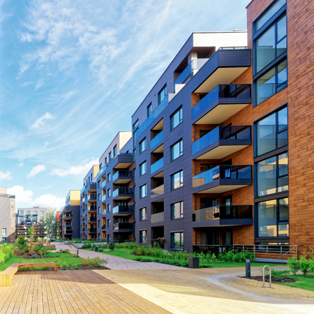 European modern complex of residential buildings. And outdoor facilities. Standard-Bild