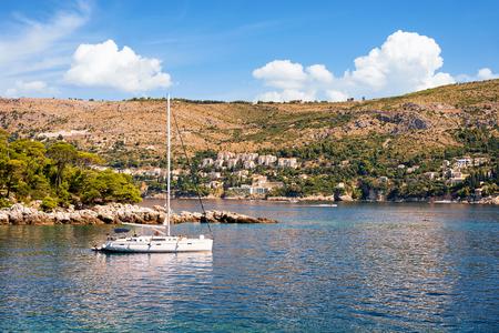 croatian: Dubrovnik, Croatia - August 19, 2016: People in Sailboat at Lokrum Island in Adriatic Sea in Dubrovnik, Croatia Editorial