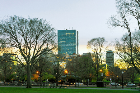 Sunset in Boston Common public park in downtown Boston, MA, United States.