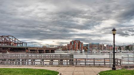 princes street: Leonard P Zakim Bunker Hill Memorial Bridge seen from Langone Park in Boston, Massachusetts, the USA.