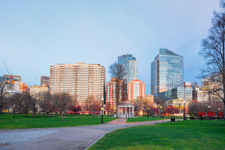 Boston Common public park in Boston, MA, United States. In the evening. People on the background Stock Photo