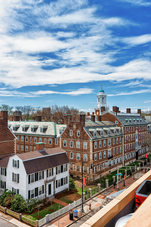 Aerial view of F Kennedy Street in the Harvard University Area in Cambridge in MA, USA Editorial