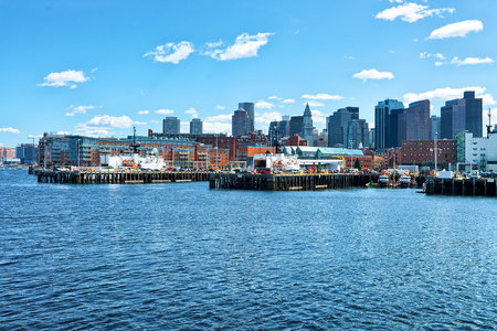 Long Wharf with Customhouse Block, Skyscrapers of Custom House and Financial District of Boston, MA, United States.