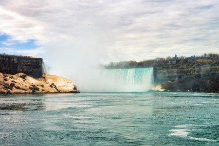 Beautiful Niagara Falls from the American side. A view on American Falls and Bridal Veil Falls Stock Photo