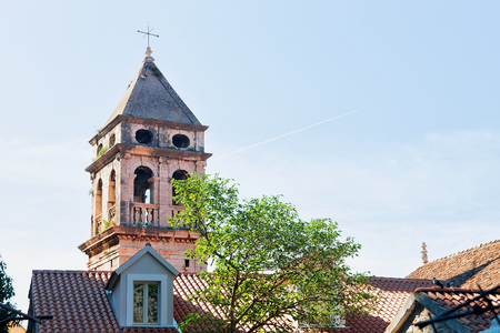 croatian: Old church tower in Omis, Dalmatia, Croatia Stock Photo