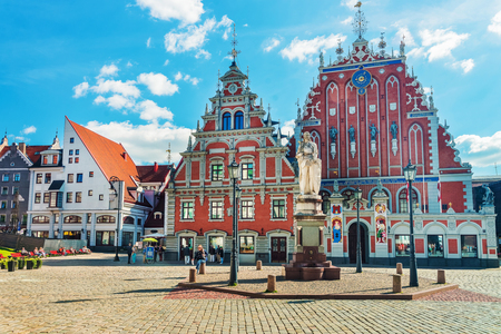 Riga, Latvia - September 3, 2014: House of Blackheads and people on the Square in the historical center in the old town, Riga, Latvia. Editorial