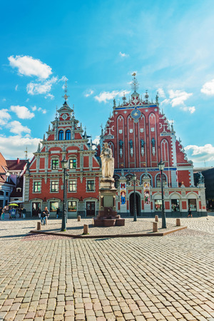 guild hall: Riga, Latvia - September 3, 2014: House of Blackheads and people on the Square in the historical center in the old town in Riga, Latvia. Editorial