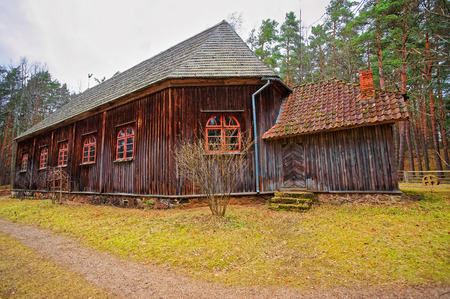 ethnographical: Old buildings in Ethnographic open air village in Riga, Latvia