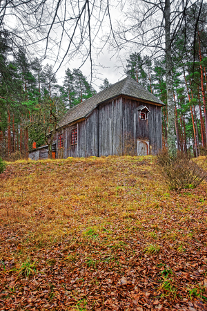 ethnographical: Old wooden building at Ethnographic open air village of Riga, Latvia