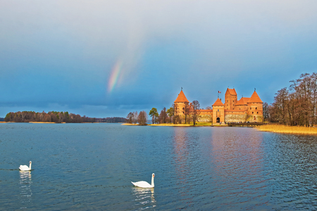 Couple of white swans and Rainbow over Galve lake and Trakai island castle museum, near Vilnius, Lithuania