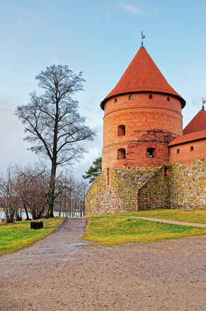 Tower in Trakai island castle museum at the day time, near Vilnius, Lithuania