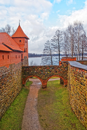 Tower and defensive walls in Trakai island castle museum at the day time, near Vilnius, Lithuania