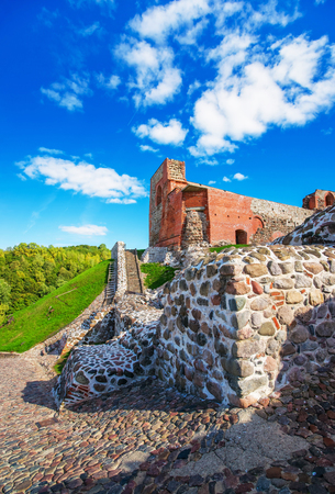 Ruined Castle complex at the hill in the historical center of the old town of Vilnius, Lithuania.