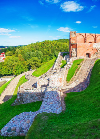 Ruins of Castle complex at the hill in the historical center of the old town of Vilnius, Lithuania. Stock Photo