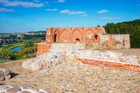 Ruins of Castle complex on the hill in the historical center of the old town of Vilnius, Lithuania.