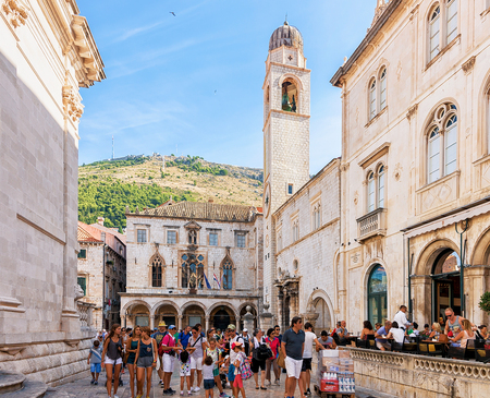 Dubrovnik, Croatia - August 20, 2016: Tourists and Stradun Street in the Old city of Dubrovnik, Croatia