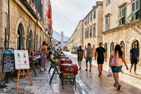 Dubrovnik, Croatia - August 20, 2016: Tourists at Stradun Street in the Old city of Dubrovnik, Croatia