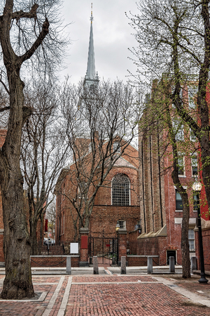 Old North Church at downtown Boston, Massachusetts, the United States. People on the background