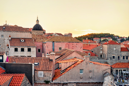 ragusa: Sunset at Old town and St Blaise church, Dubrovnik, Croatia Editorial
