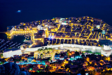 seafronts: Aerial night view on Dubrovnik Old town with Adriatic Sea, Croatia Editorial