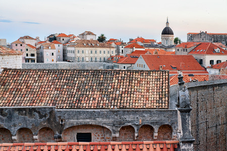 ragusa: Panorama on St Blaise church dome and Old town in Dubrovnik, Croatia