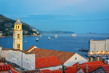 Panorama with Old town fort in Dubrovnik and Adriatic Sea late in the evening, Croatia
