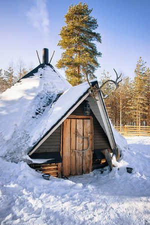 rovaniemi: Traditional Lappish house in winter reindeer farm, Finland. Stock Photo