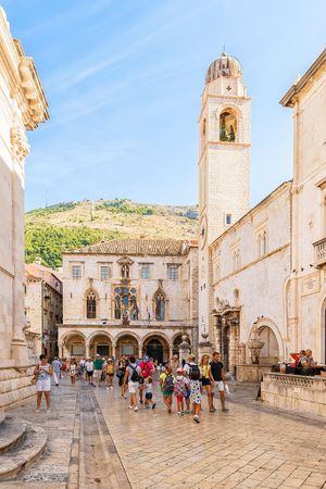Dubrovnik, Croatia - August 20, 2016: Stradun Street full of tourists in the Old city, Dubrovnik, Croatia