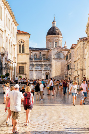 Dubrovnik, Croatia - August 18, 2016: Crowds of people at Dubrovnik Cathedral in the Old city, Croatia