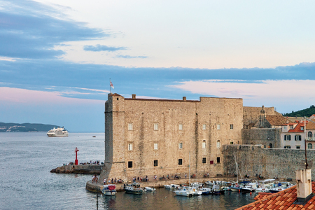 ragusa: Saint John Fort and Sailing boats at the Old port in the Adriatic Sea in Dubrovnik, Croatia