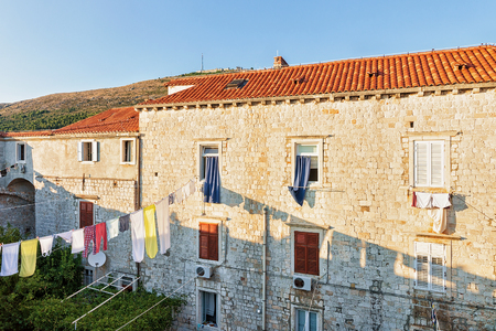 ragusa: House in the Old Town of Dubrovnik, in Croatia. Viewed from the defensive city walls Stock Photo