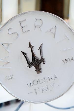 Florence, Italy - October 17, 2016: Italian Car Maserati sign, Florence, Tuscany, Italy