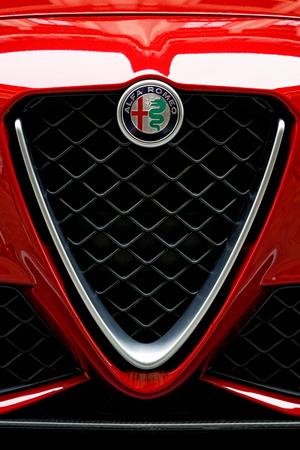 Florence, Italy - October 17, 2016: Italian Car Alfa Romeo Giulia Quatrifoglio fragment, Florence, Tuscany, Italy Editorial