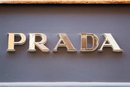 prada: Rome, Italy - October 14, 2016: Prada Sign of street shop window in Rome.